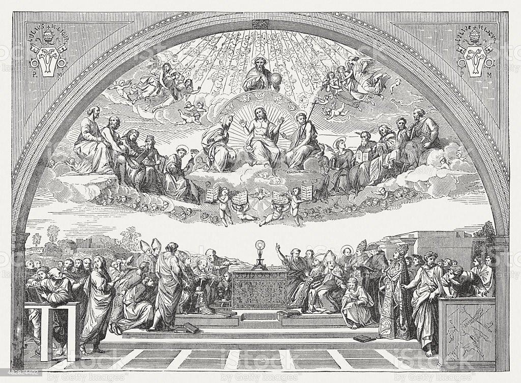 Disputa (Stanza della Segnatura) by Raphael (Italian painter), published 1878 vector art illustration