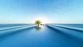 Distant tree on Vast Horizon Sunrise