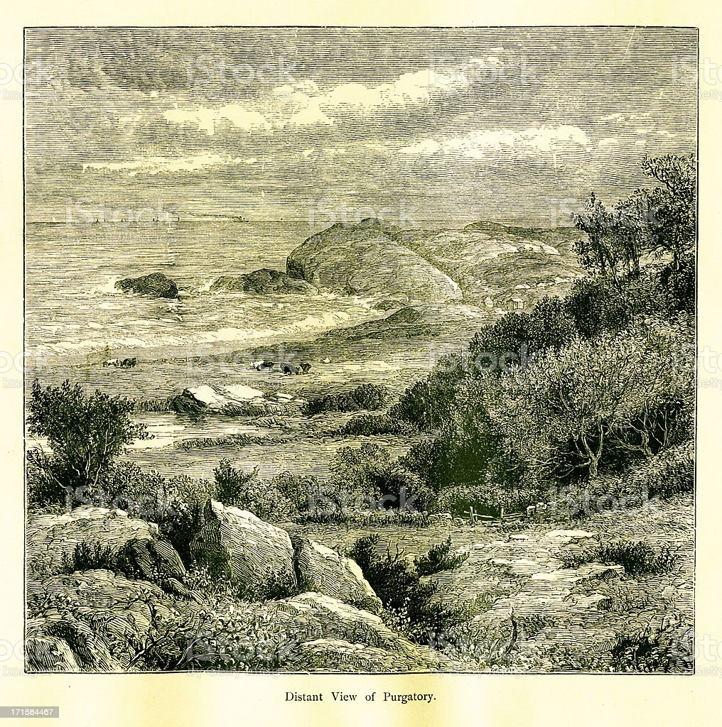 Distant view of Purgatory, Newport, Rhode Island royalty-free stock vector art
