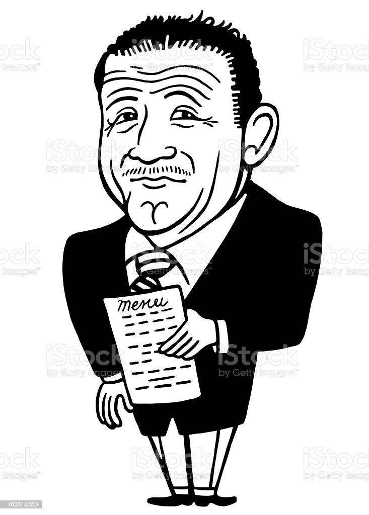 Distinguished Looking Man Holding a Menu royalty-free stock vector art