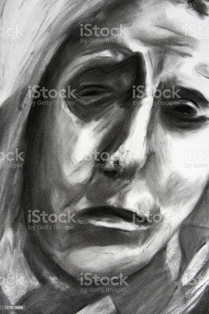 Distorted: Charcoal Pencil Drawing of a Creepy Face vector art illustration