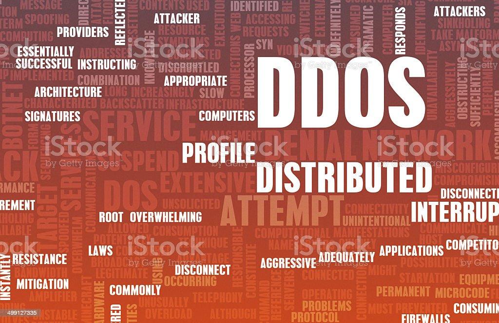 DDOS Distributed Denial of Service Attack vector art illustration