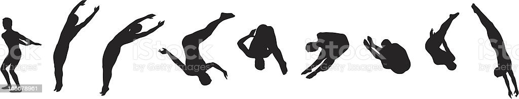 Diver in action vector art illustration