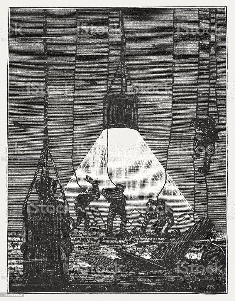 Divers working at electric light, wood engraving, published in 1881 vector art illustration