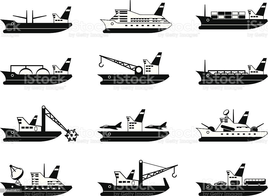 Diverse commercial and passenger ships royalty-free stock vector art