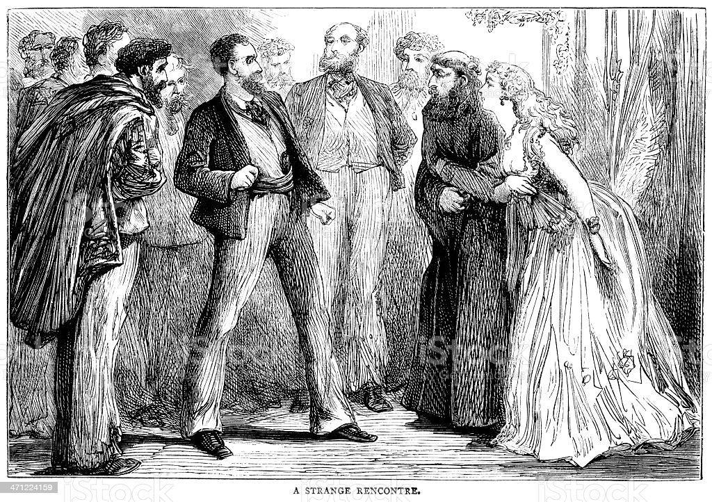 Diverse group of people meeting (Victorian illustration) royalty-free stock vector art