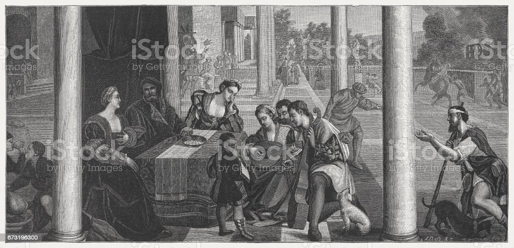 Dives and Lazarus, painted (1540/50) by Bonifacio Veronese, Venice, Italy vector art illustration