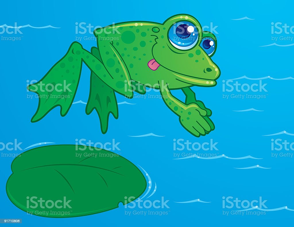 Diving Frog royalty-free stock vector art