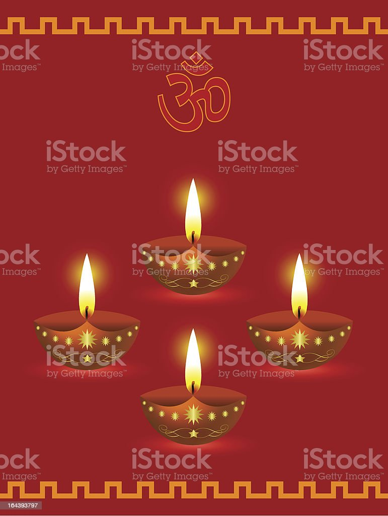 Diwali Greetings with Decorative Glowing Lamps royalty-free stock vector art