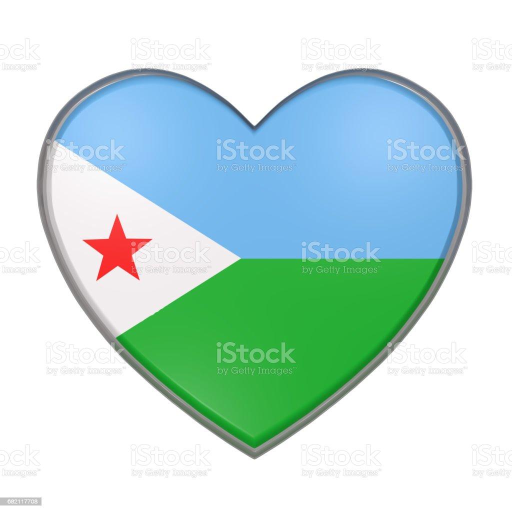 Djibouti heart vector art illustration