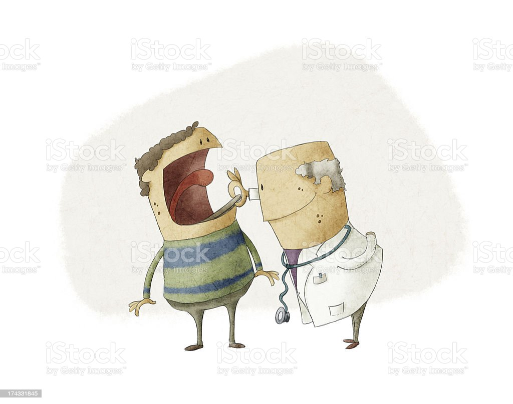 Doctor and patient vector art illustration