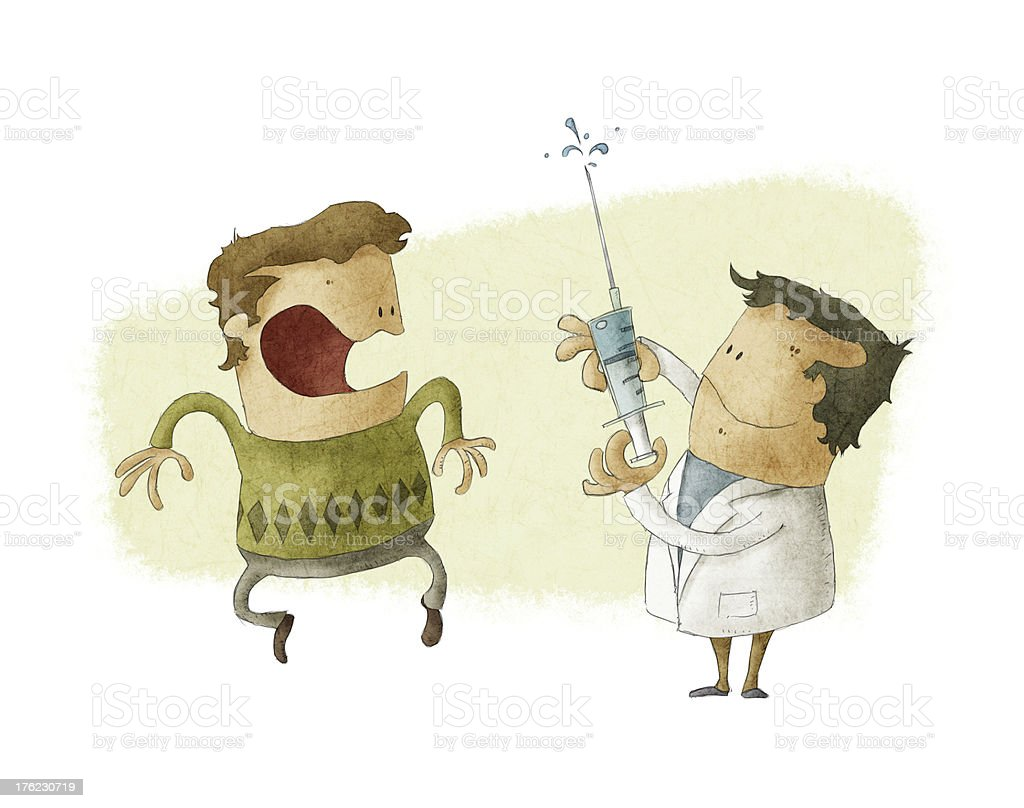 doctor giving an injection vector art illustration