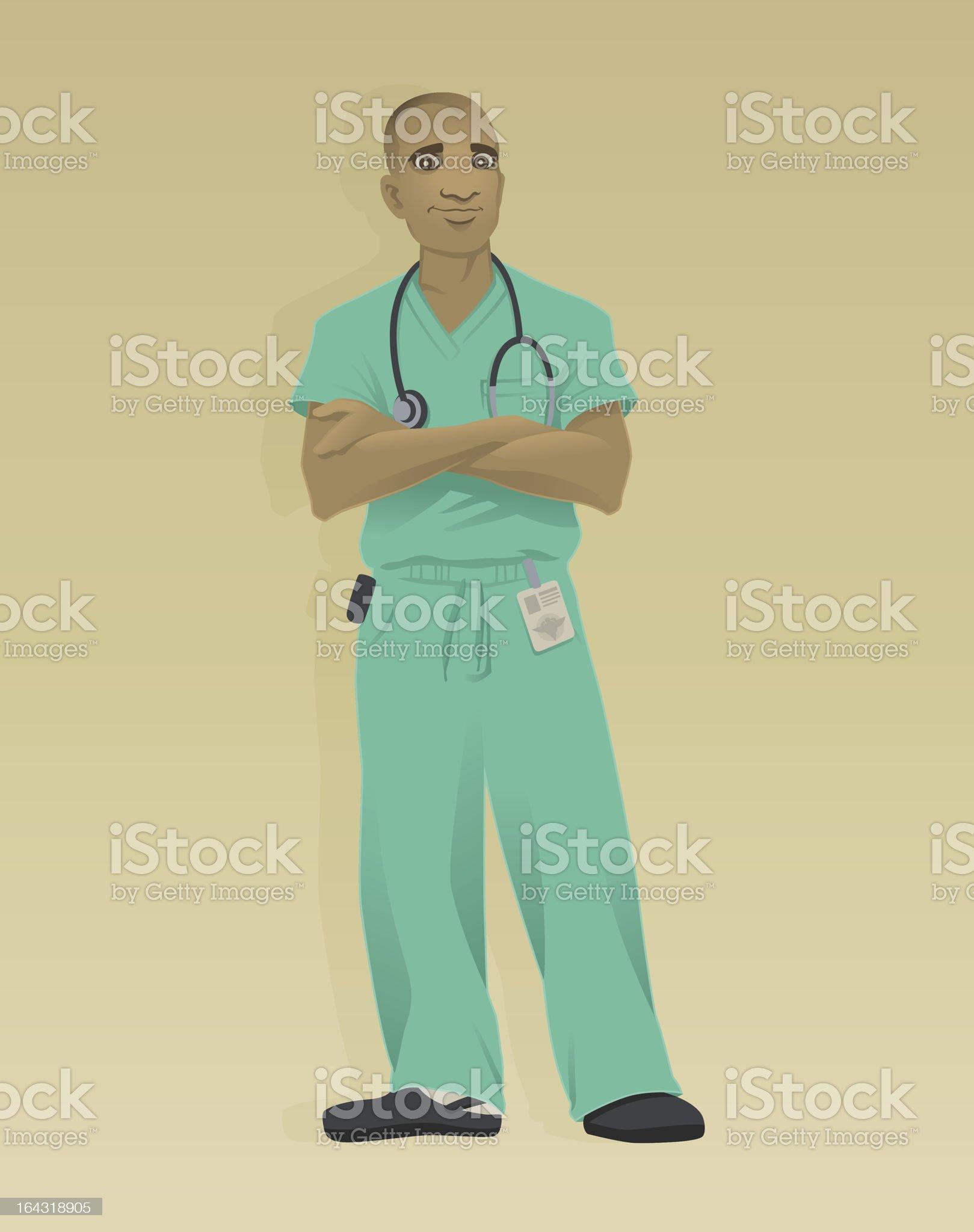 Doctor Green Scrubs royalty-free stock vector art