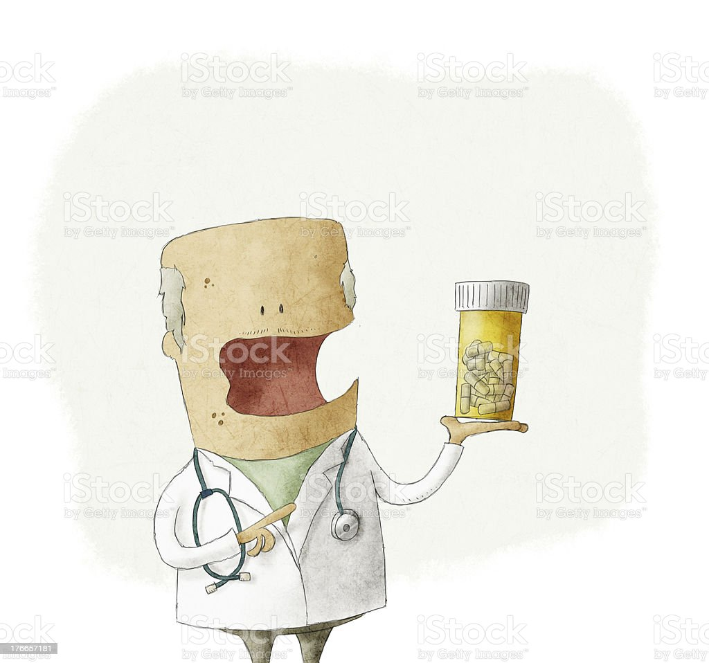 Doctor holding a bottle of pills vector art illustration