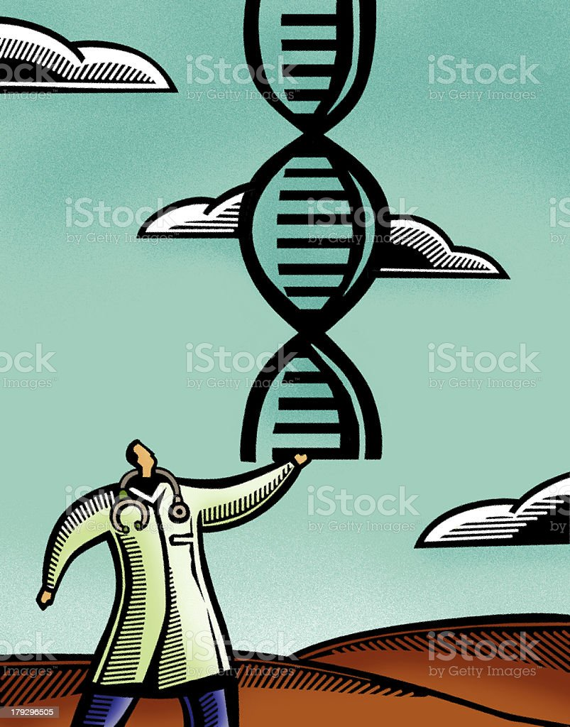 Doctor holding a double helix vector art illustration
