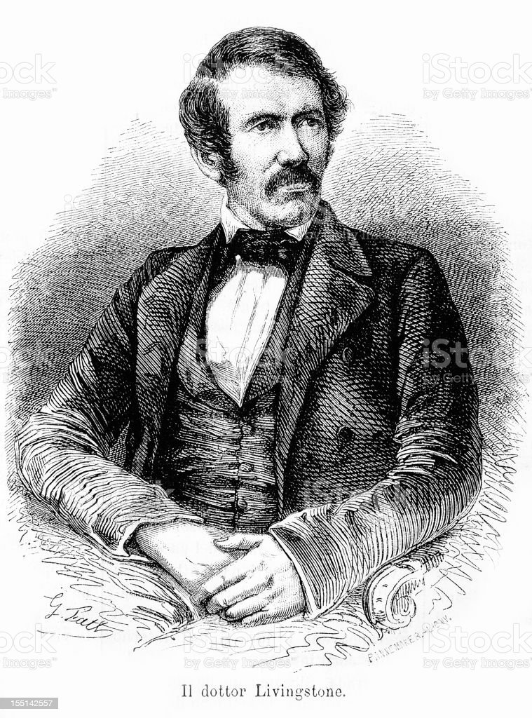 Doctor Livingstone portrait royalty-free stock vector art