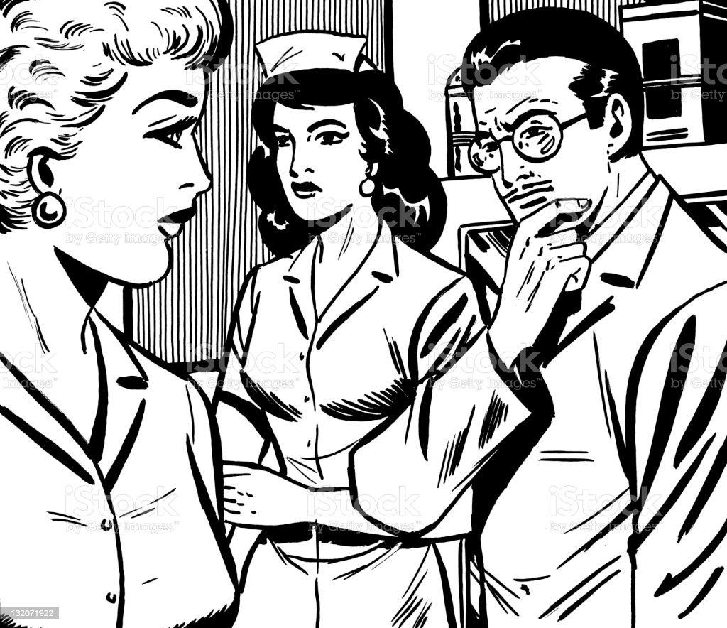 Doctor, Nurse and Woman vector art illustration