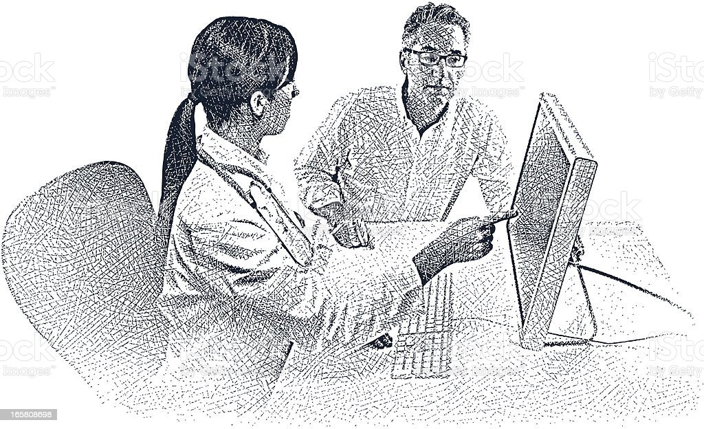 Doctor, Patient and Computer vector art illustration