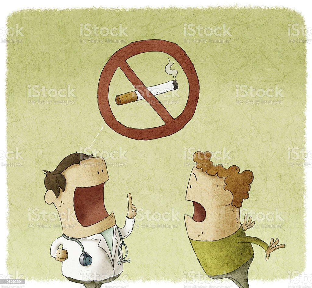 Doctor prohibiting smoking a patient vector art illustration