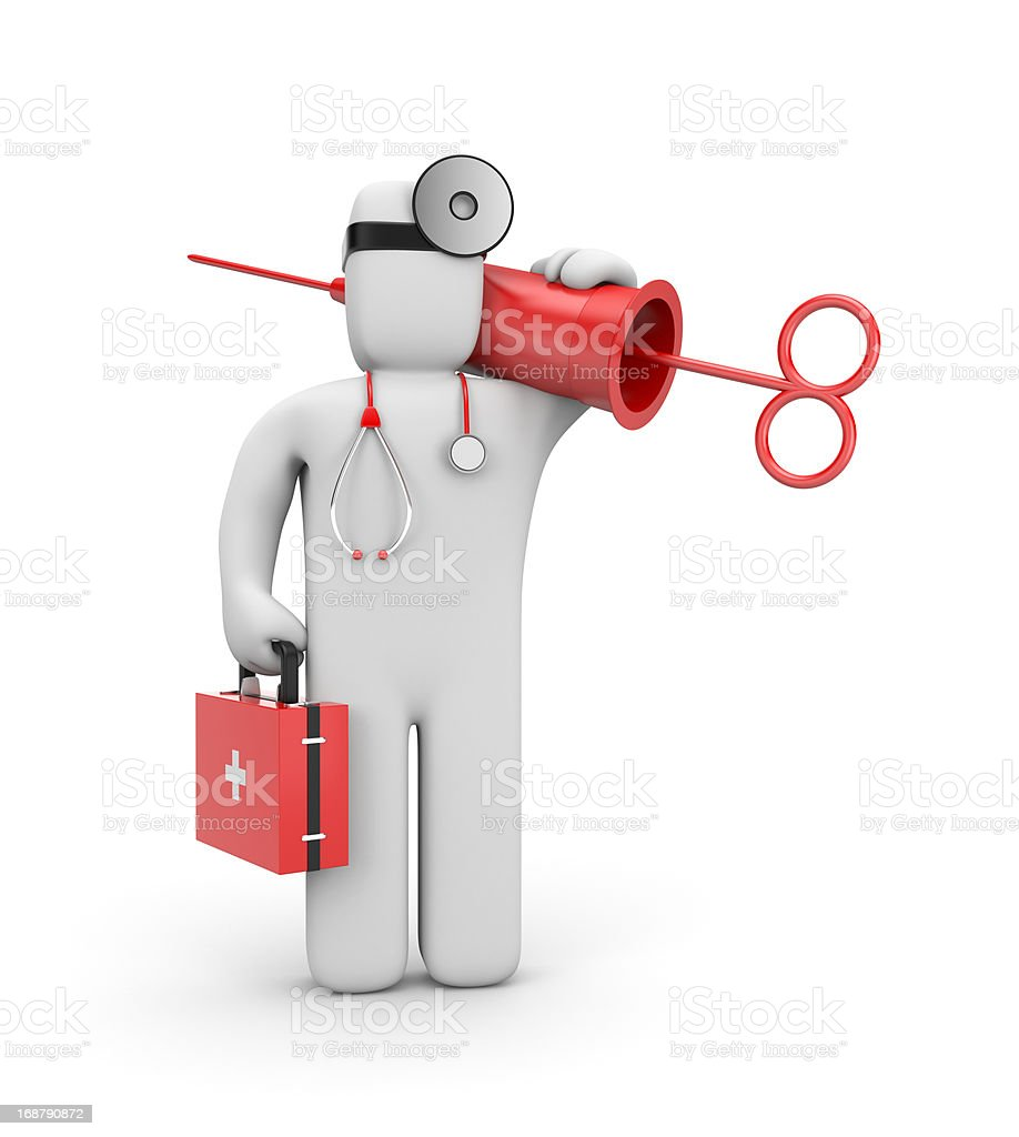 Doctor with syringe (retro style) royalty-free stock vector art