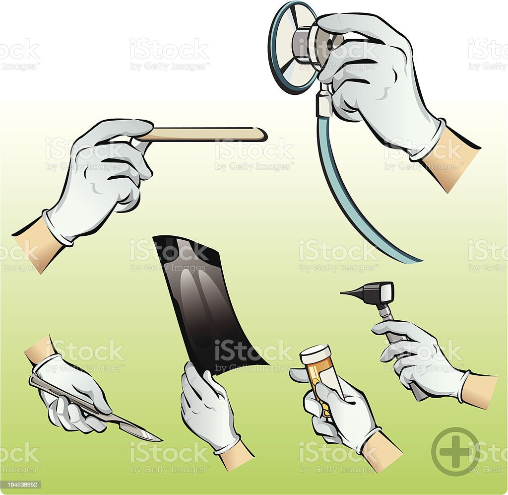 Doctor's Hands and Medical Instruments vector art illustration