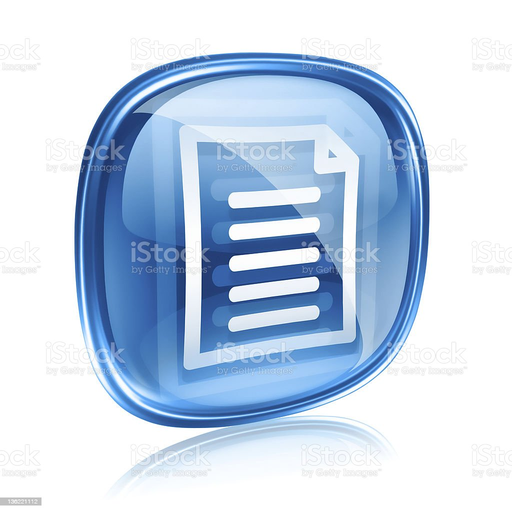 Document icon blue glass, isolated on white background royalty-free stock vector art