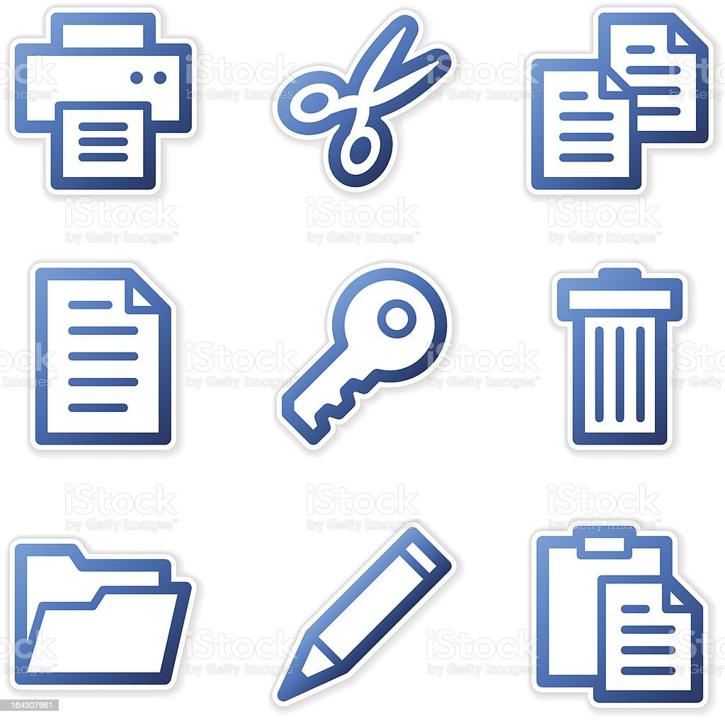 Document icons, blue contour series royalty-free stock vector art