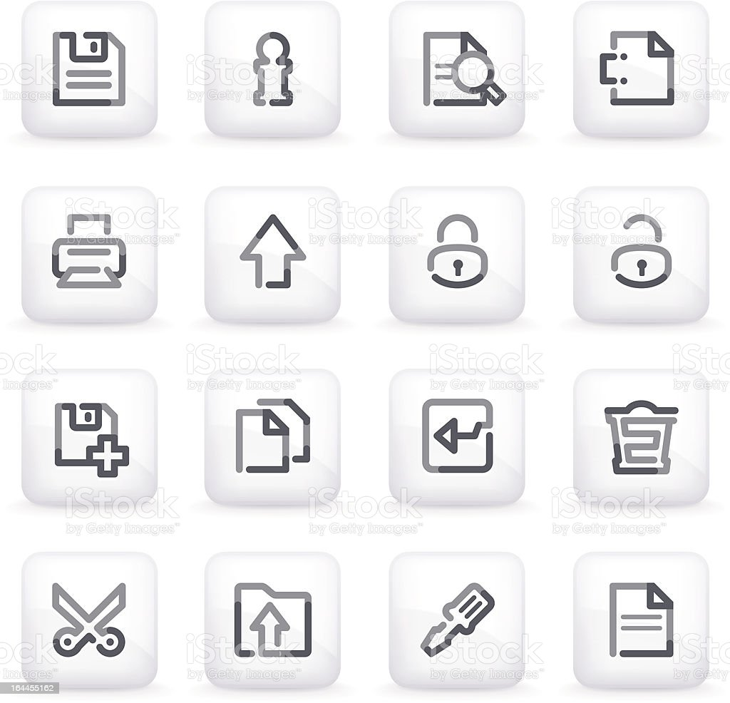 Document icons  on gray buttons. royalty-free stock vector art