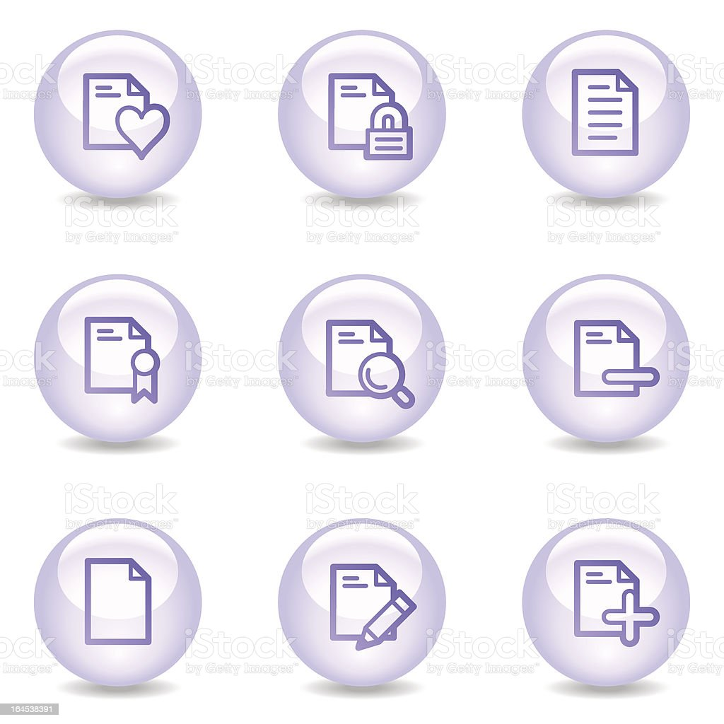 Document web icons, glossy pearl series set 2 royalty-free stock vector art