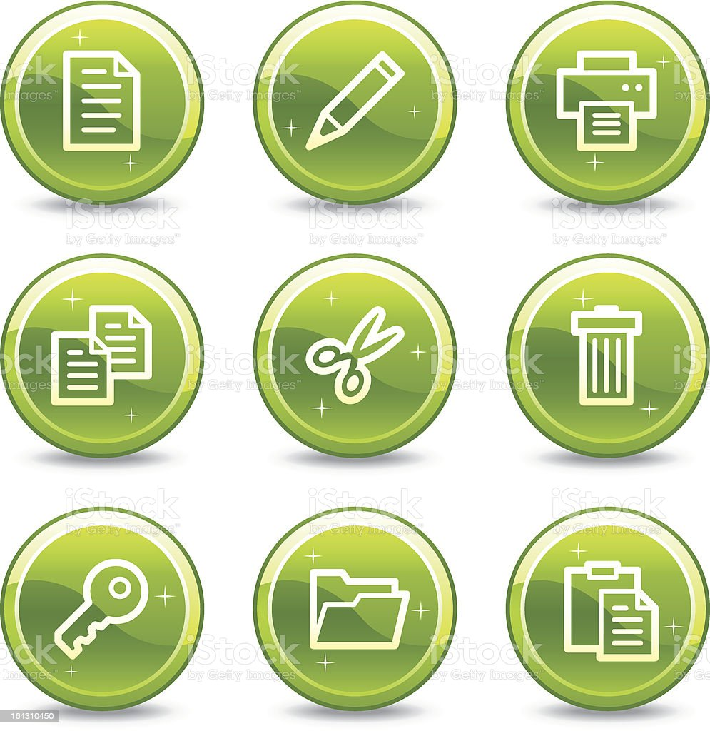 Document web icons, green glossy circle buttons series royalty-free stock vector art