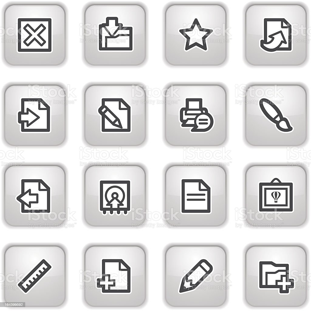 Document web icons, on gray buttons. royalty-free stock vector art