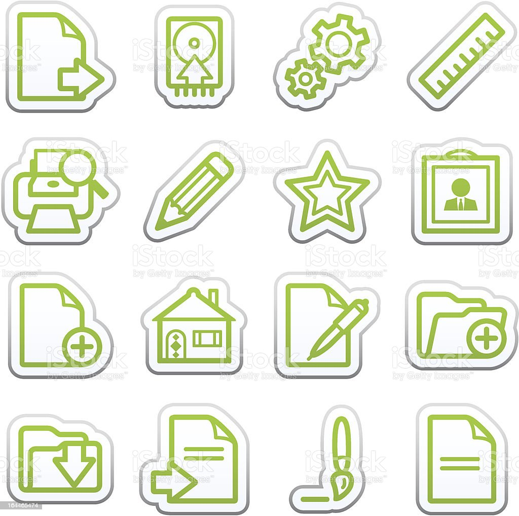 Document web icons, set 2. Sticker series. royalty-free stock vector art