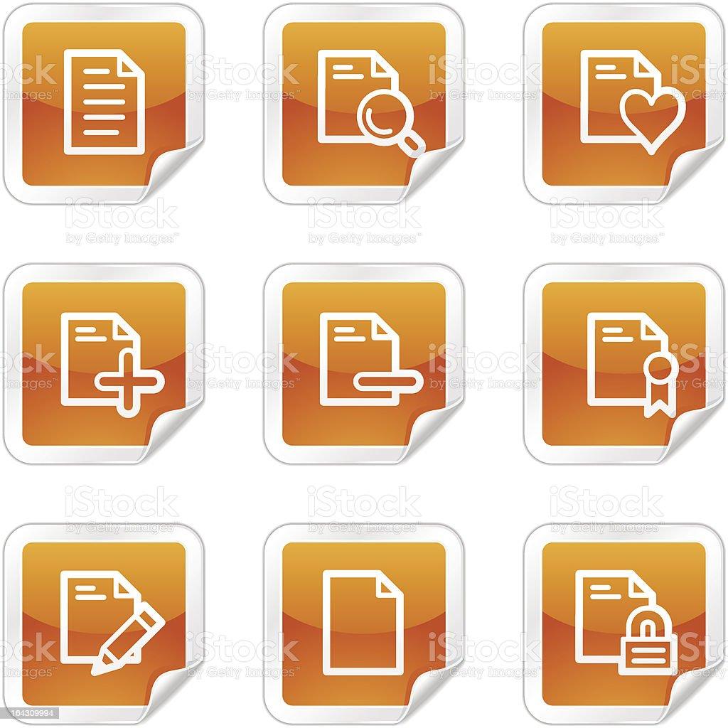 Documents 2 web icons, orange glossy sticker series royalty-free stock vector art