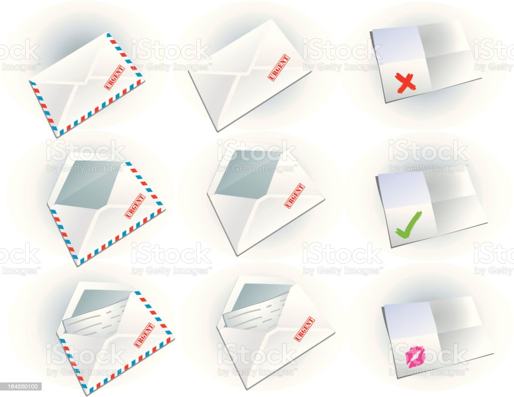 Documents & Envelopes Icon Set royalty-free stock vector art