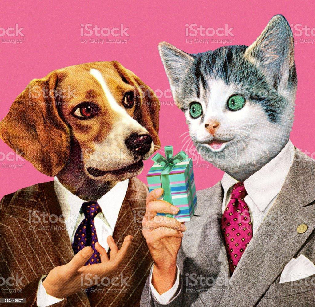 Dog and Cat Businessmen vector art illustration