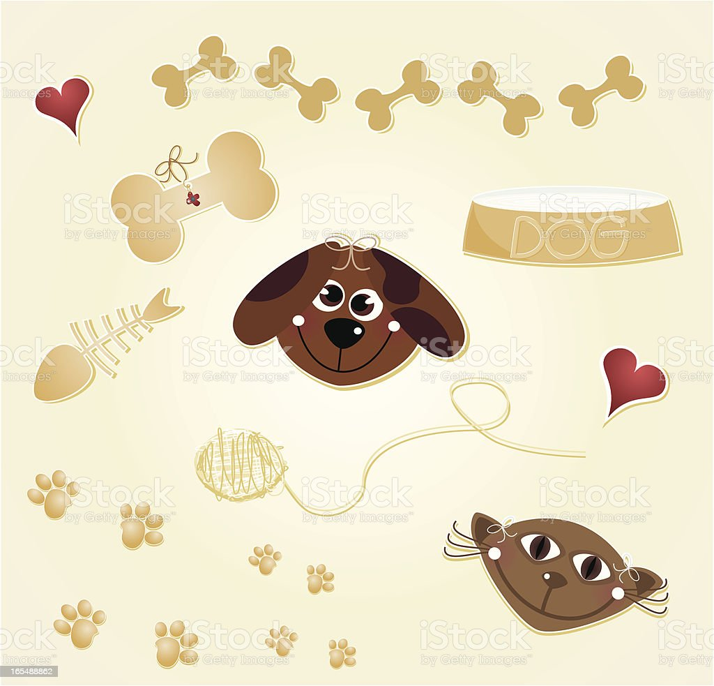 Dog and Cat Elements royalty-free stock vector art