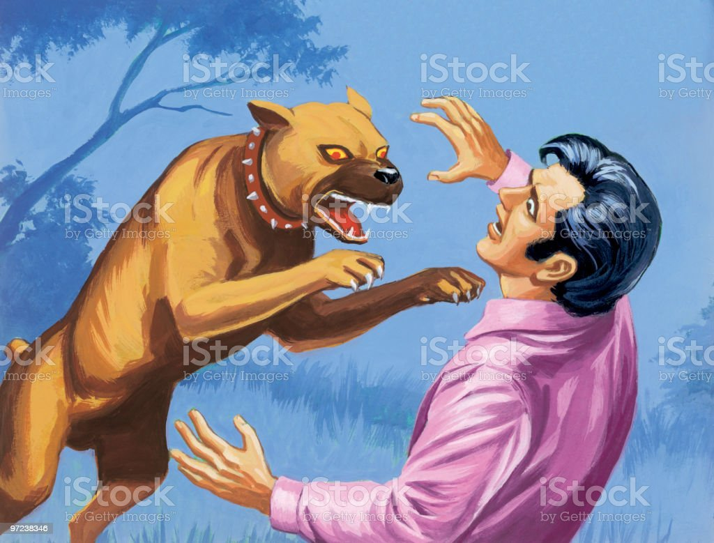 Dog Attacking Man royalty-free stock vector art