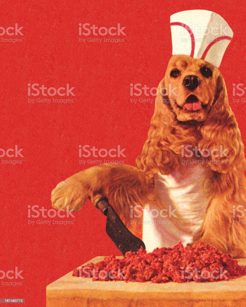 Dog Butcher Wearing Hat vector art illustration