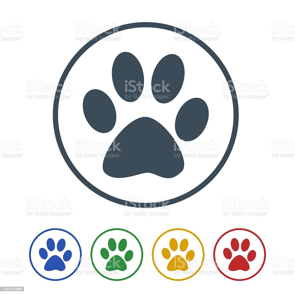 Dog foot print icon isolated on white background vector art illustration