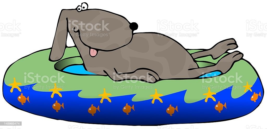 Dog In A Pool royalty-free stock vector art