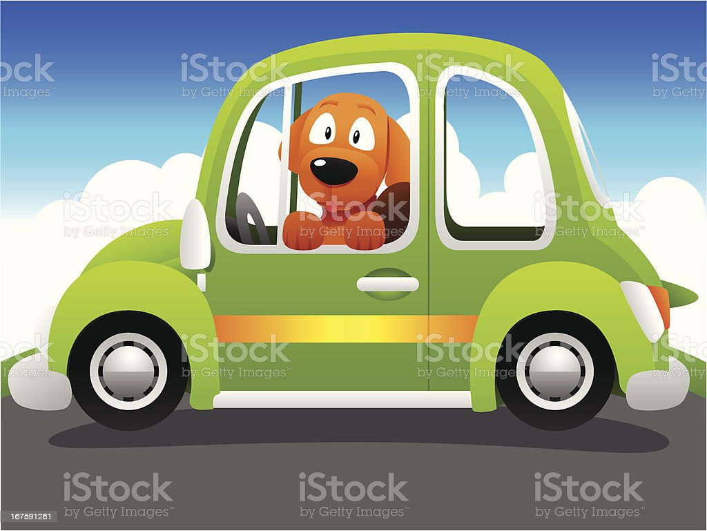 Dog in car vector art illustration