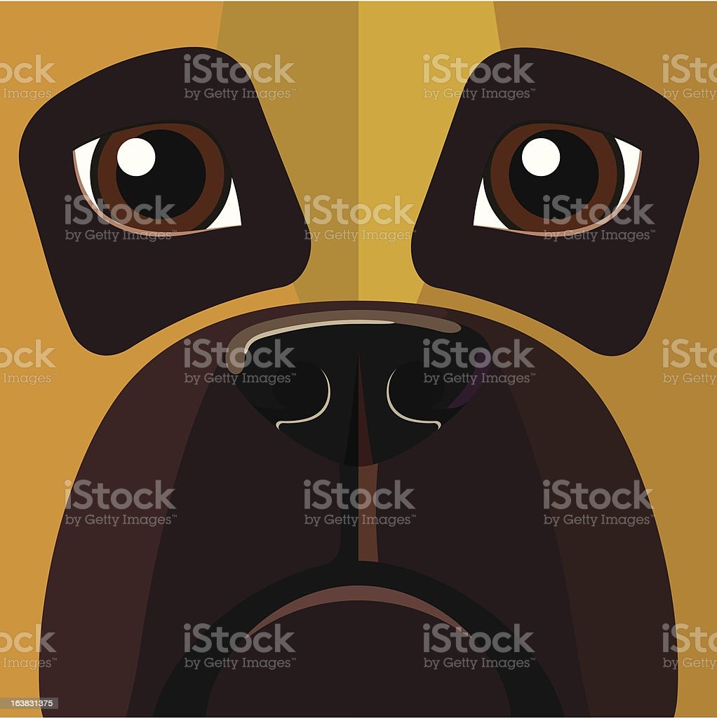 Dog looking straight at you vector art illustration