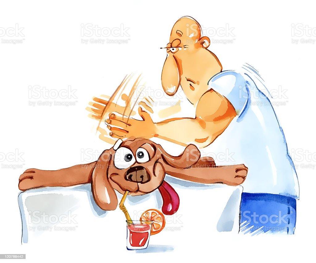 dog massage vector art illustration