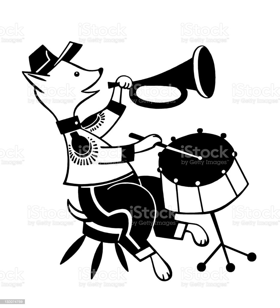 Dog Playing Horn and Drums royalty-free stock vector art