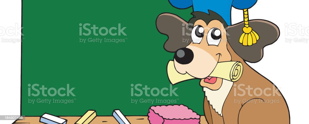 Dog teacher with blackboard royalty-free stock vector art