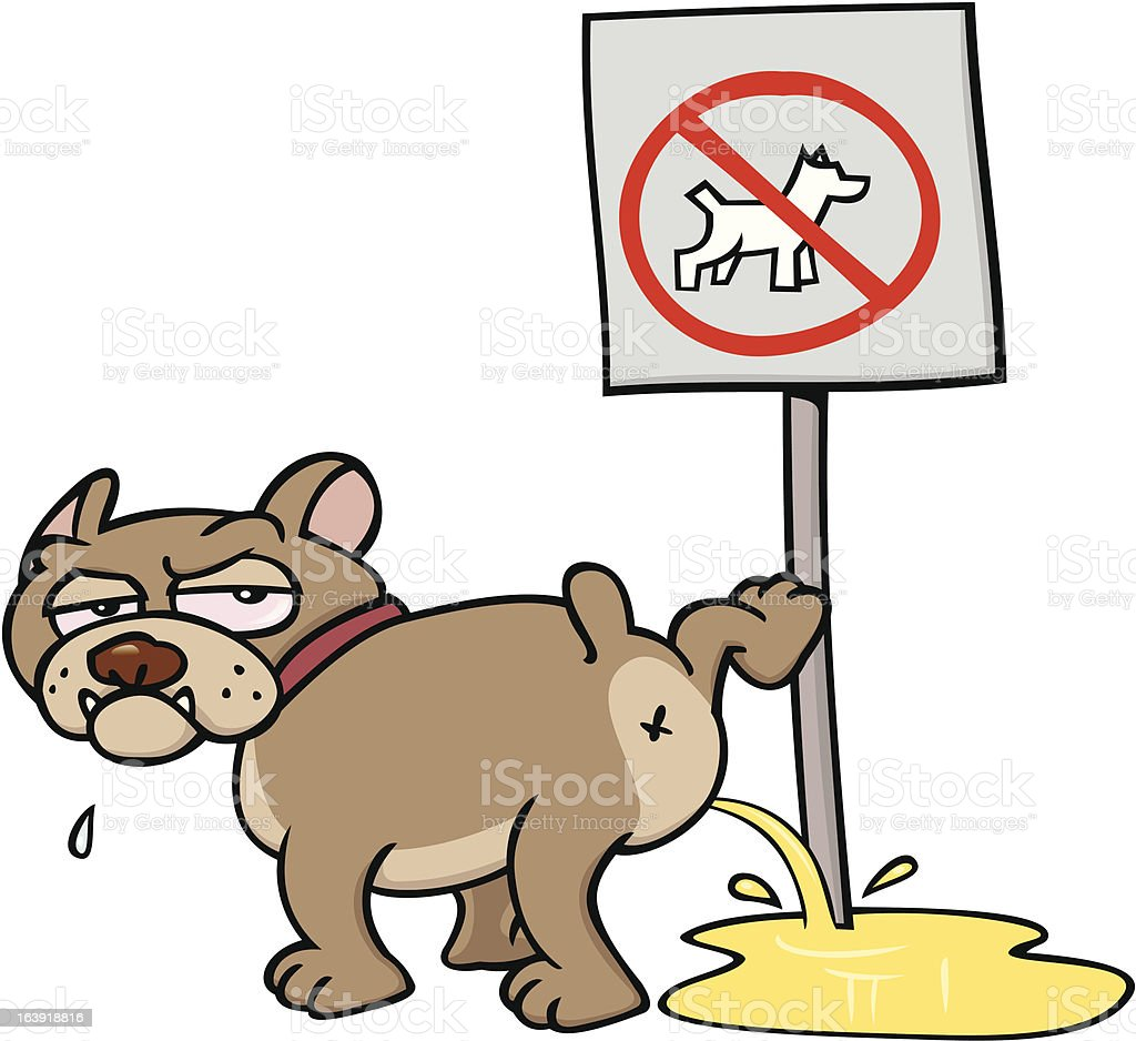 Dog urinating on NO DOGS sign vector art illustration