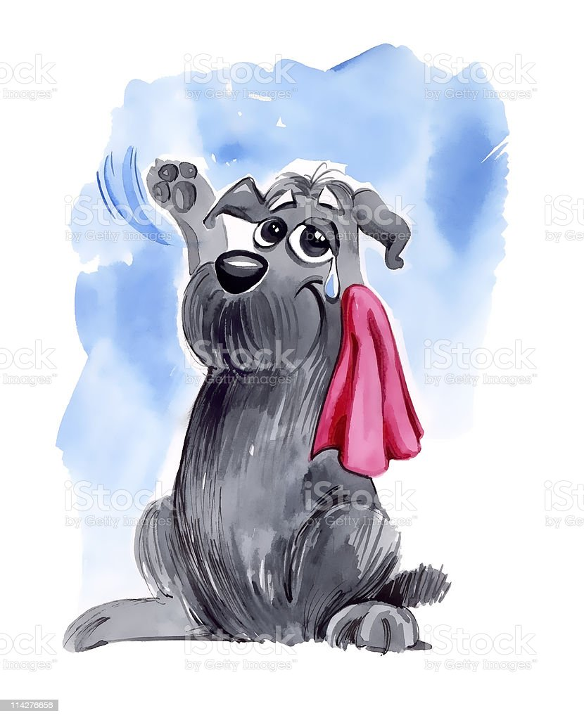 dog waving goodbye vector art illustration