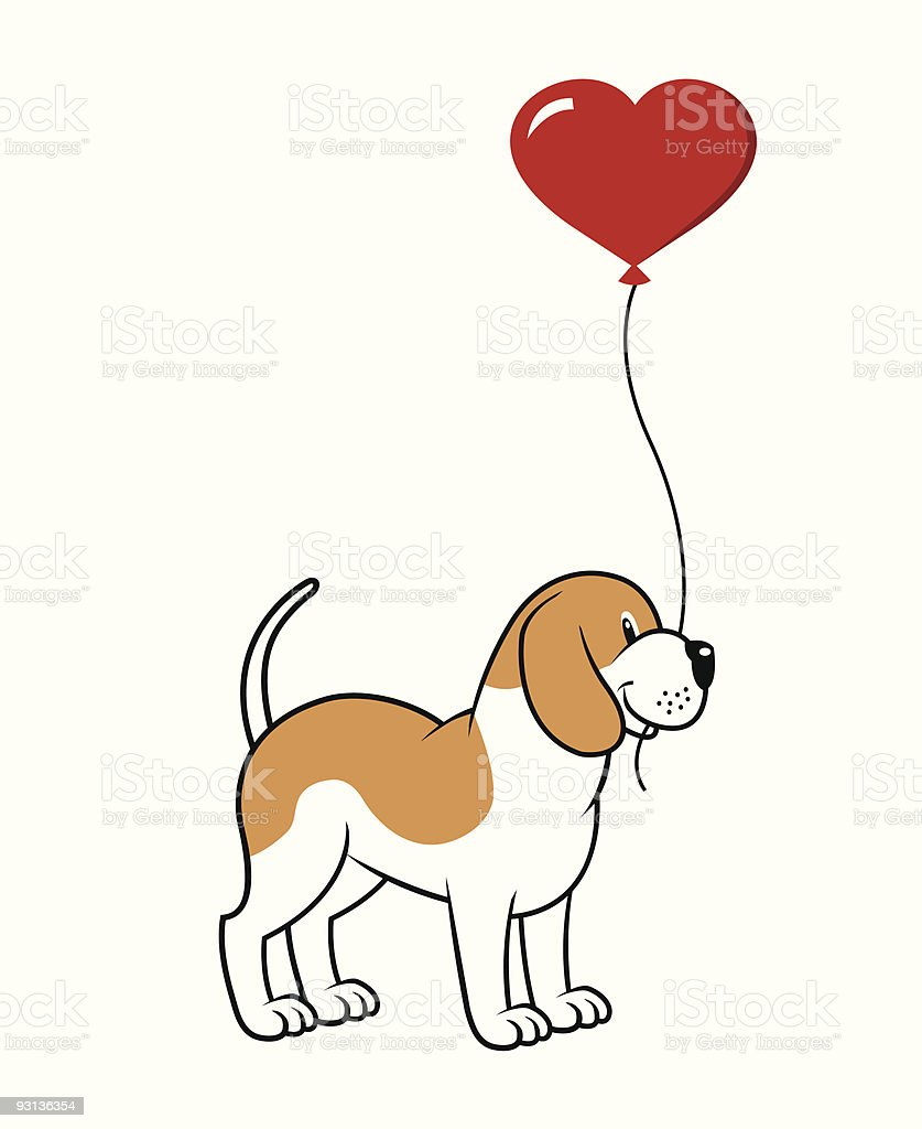 Dog With A Balloon royalty-free stock vector art