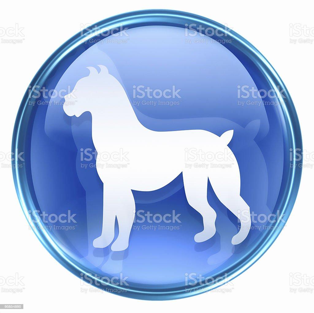 Dog Zodiac icon blue, isolated on white background. royalty-free stock vector art