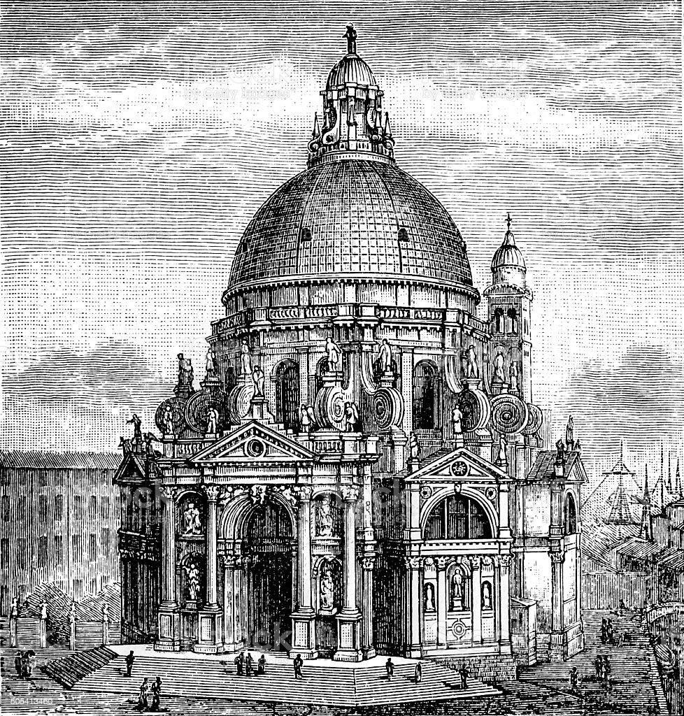 Dogana and Church of Santa Maria Della Salute, Venice vector art illustration